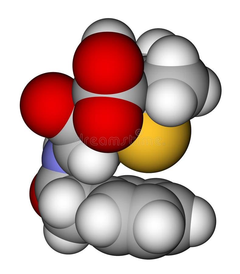 заполняя космос пенициллина g модельный молекулярный иллюстрация штока