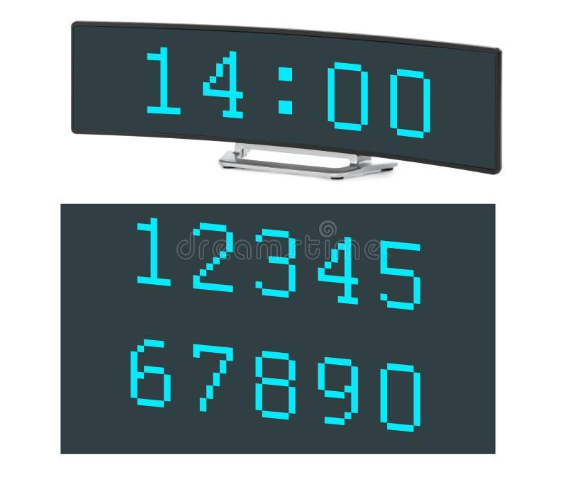 заполнение чисел часов цифровое получает как раз СИД правыми к ненужное поднимающему вверх стоковые изображения
