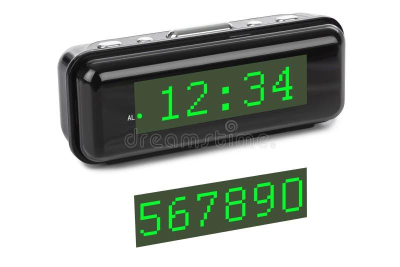 заполнение чисел часов цифровое получает как раз СИД правыми к ненужное поднимающему вверх стоковое фото