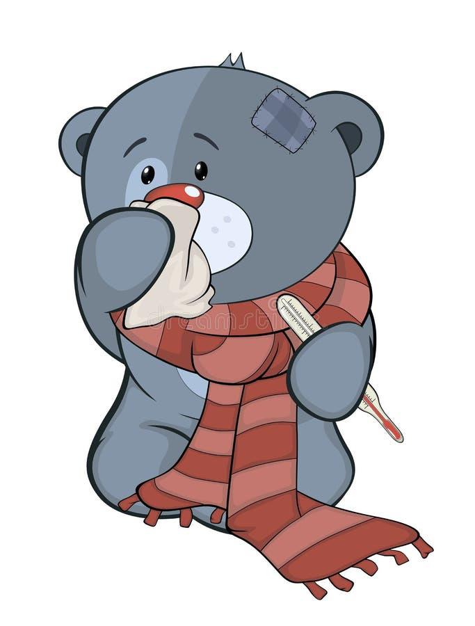 Заполненные новичок медведя игрушки и шарж болезни иллюстрация штока