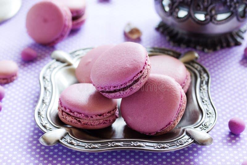 Заполненные печенья Makarons французские стоковые изображения