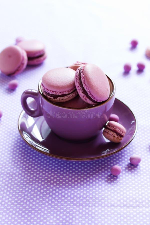 Заполненные печенья Makarons французские стоковое фото