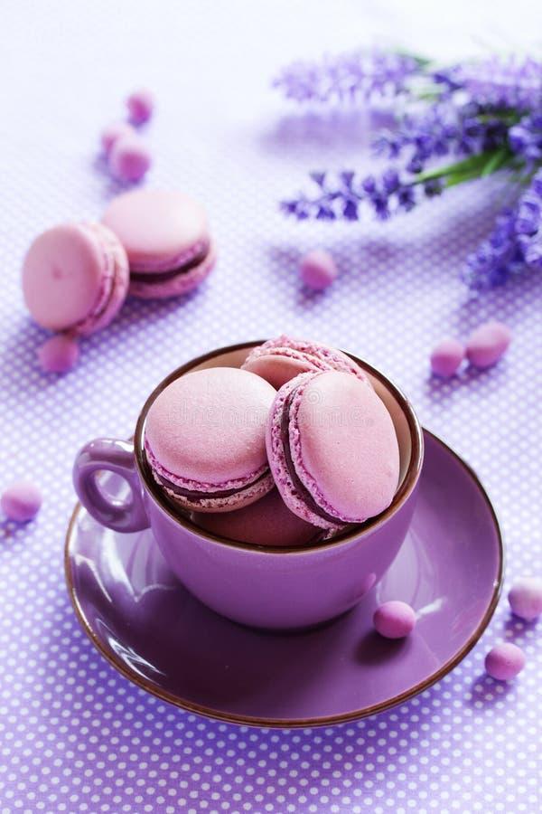 Заполненные печенья Makarons французские стоковое фото rf