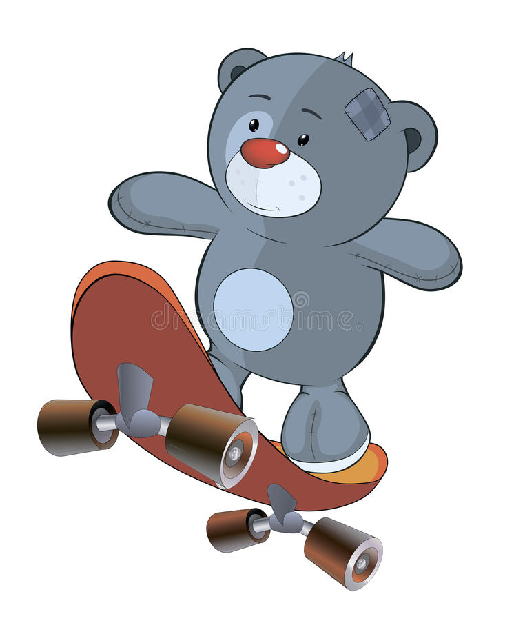 Заполненный шарж новичка и скейтборда медведя игрушки иллюстрация штока