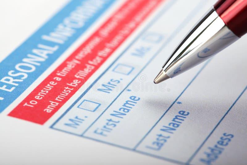 Заполняя форма документа стоковая фотография rf