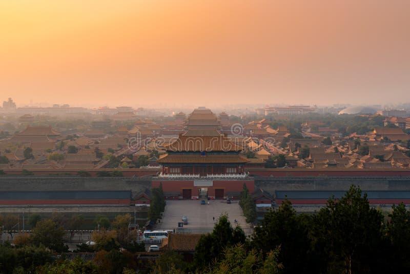 Запретный город в утре на Пекин, Китай Пекин старый стоковая фотография