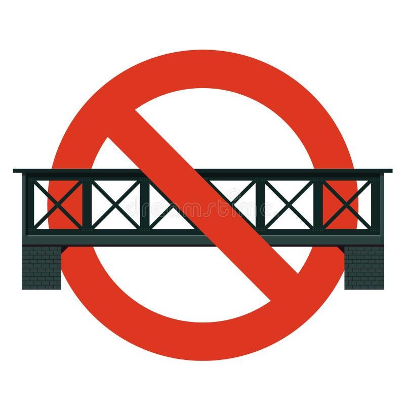 Запрет железнодорожного моста Строгий запрет на мостах конструкции, запрещает бесплатная иллюстрация