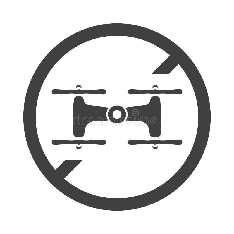 Запрет значка на трутнях летая Вектор на белой предпосылке бесплатная иллюстрация