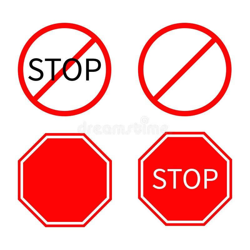 Запрет отсутствие дорожного знака стопа символа шаблона красного круглого предупреждающего установленного изолированного на белой иллюстрация вектора