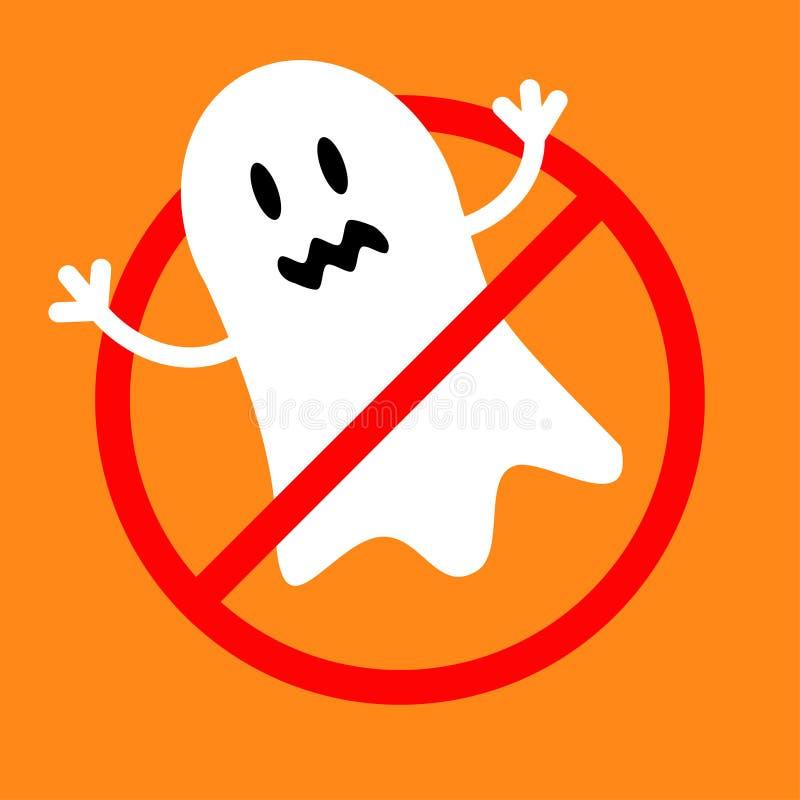 Запрет отсутствие предупредительного знака стопа символа красного круглого отсутствие изверга призрака Милый персонаж из мультфил иллюстрация вектора