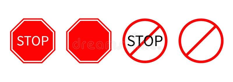 Запрет отсутствие стопа круга символа линии шаблона набора дорожного знака красного предупреждая изолированного на белой предпосы бесплатная иллюстрация