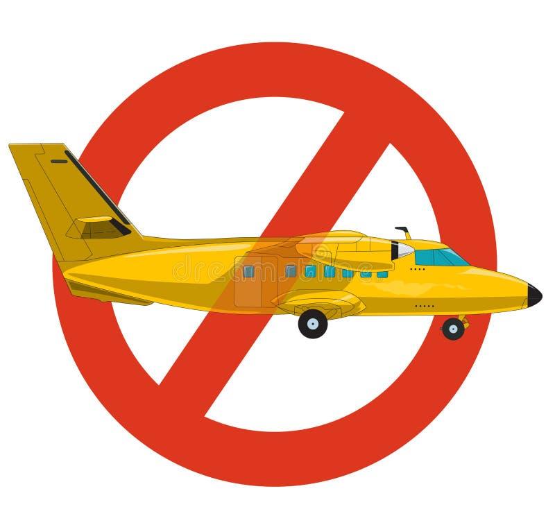 Запрет самолета Строгий запрет на конструкции воздушных судн Желтый самолет запрещает бесплатная иллюстрация