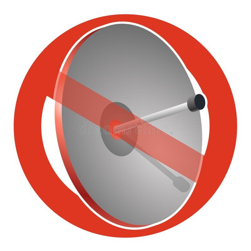 Запрет спутниковой антенна-тарелки Строгий запрет на конструкции антенны передачи, запрещает Остановите сигналы телефона и телеви иллюстрация штока