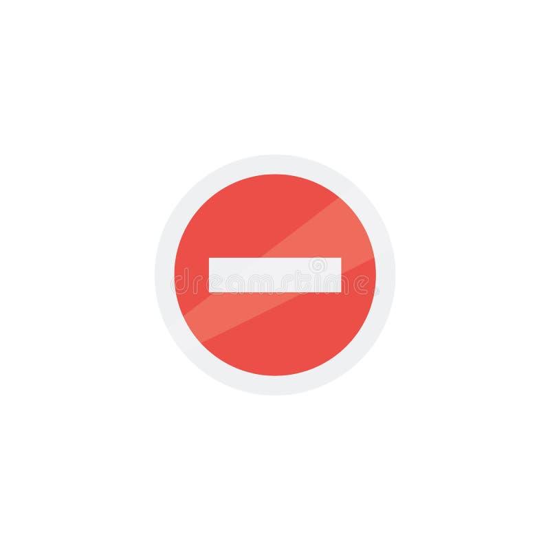 Запрещающ значок знака изолированный на векторе предпосылки плоско красный и белый дизайн иллюстрация штока