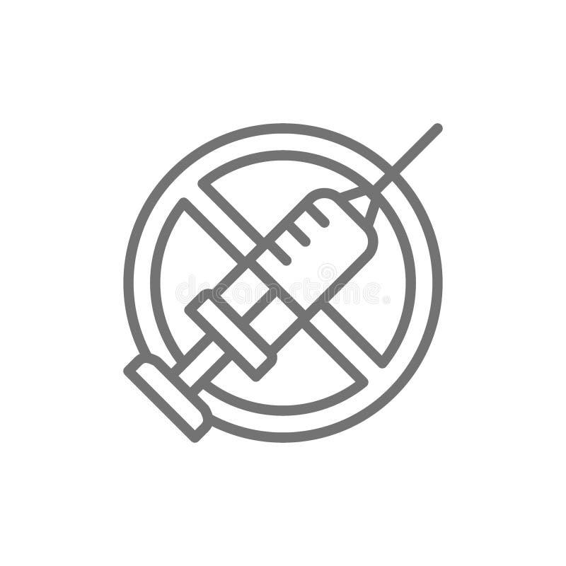 Запрещенный знак со шприцем, отсутствие вакцинирования, отсутствие линии значка впрыски иллюстрация штока