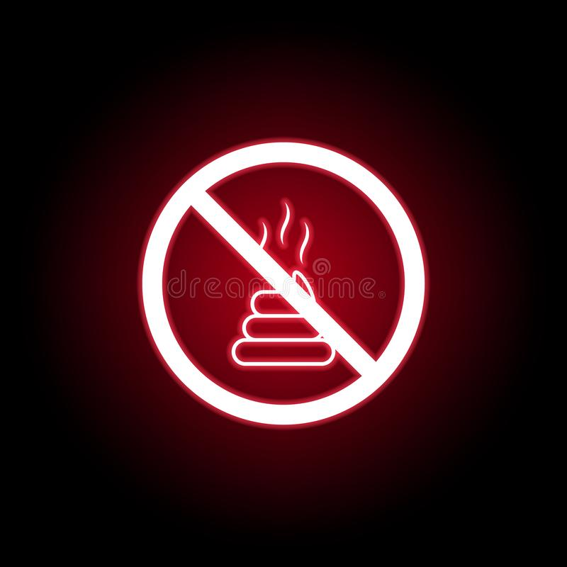 Запрещенный значок дерьма в красном неоновом стиле r иллюстрация вектора
