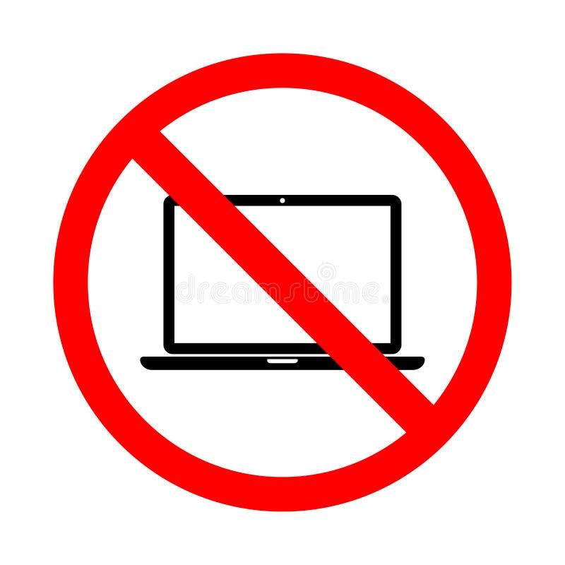 Запрещенный значок компьютеров Иллюстрация вектора собрания знаков запрета бесплатная иллюстрация