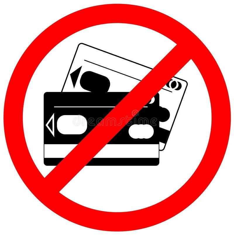 Запрещенный значок кредитной карточки, отсутствие знака кредитной карточки стоковые изображения rf