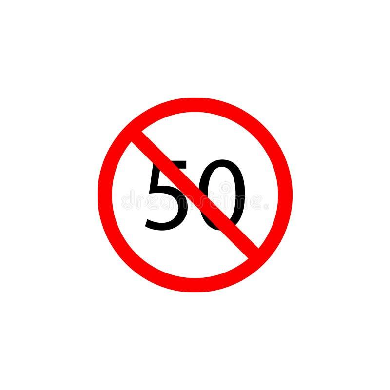 Запрещенный значок скорости 50 на белой предпосылке можно использовать для сети, логотипа, мобильного приложения, UI UX иллюстрация вектора