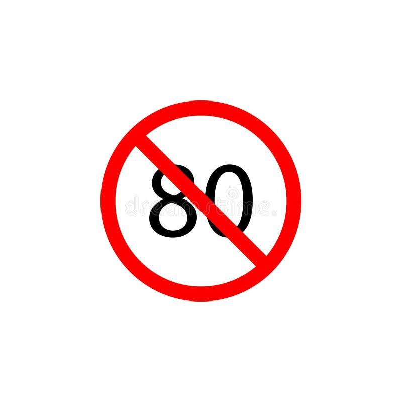 Запрещенный значок скорости 80 на белой предпосылке можно использовать для сети, логотипа, мобильного приложения, UI UX иллюстрация штока
