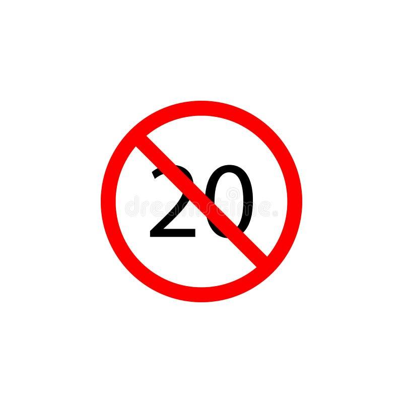 Запрещенный значок скорости 20 на белой предпосылке можно использовать для сети, логотипа, мобильного приложения, UI UX бесплатная иллюстрация