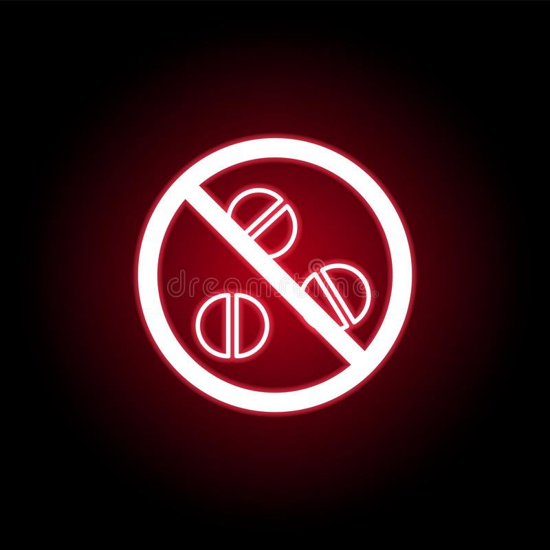 Запрещенный значок таблеток в красном неоновом стиле r иллюстрация штока