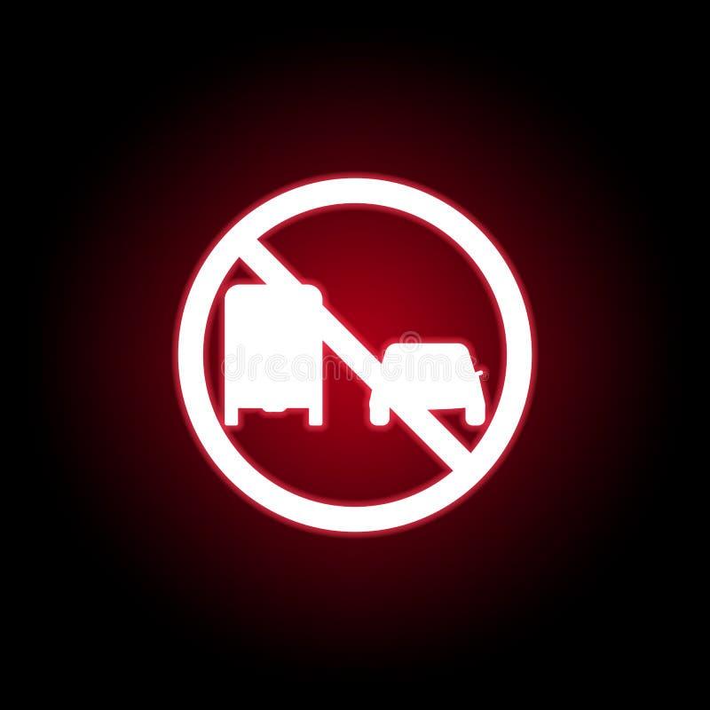 Запрещенный значок тележки пропуска в красном неоновом стиле r иллюстрация штока
