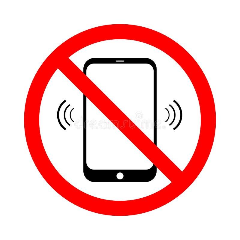 Запрещенный мобильный телефон Отсутствие знака сотового телефона изолированного на белой предпосылке также вектор иллюстрации при иллюстрация вектора