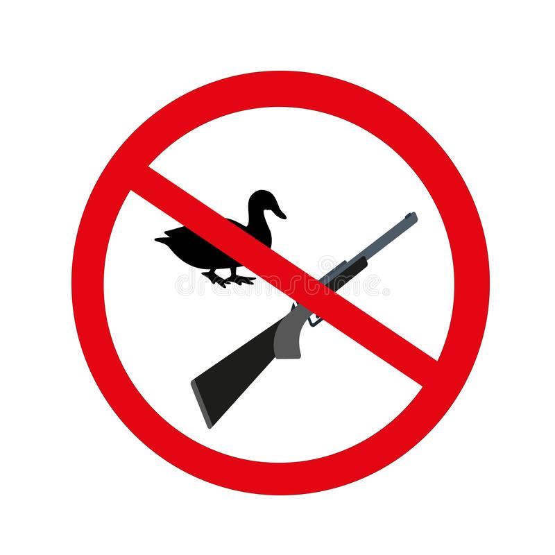 Запрещенный охотиться, утка, иллюстрация изолированная на белом b бесплатная иллюстрация