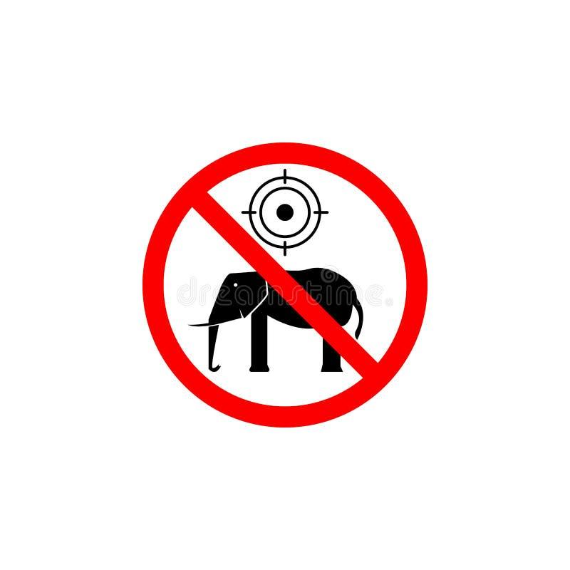 Запрещенный охотясь значок слона на белой предпосылке можно использовать для сети, логотипа, мобильного приложения, UI UX иллюстрация вектора