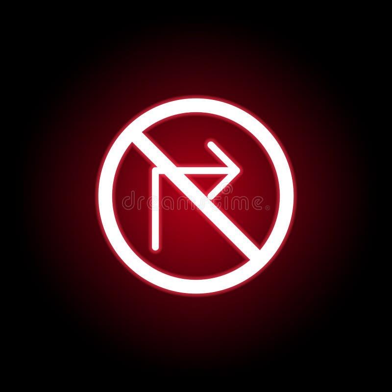 Запрещенный правый значок в красном неоновом стиле r бесплатная иллюстрация