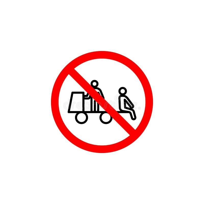 Запрещенный сидя значок тележки на белой предпосылке можно использовать для сети, логотипа, мобильного приложения, UI UX иллюстрация вектора