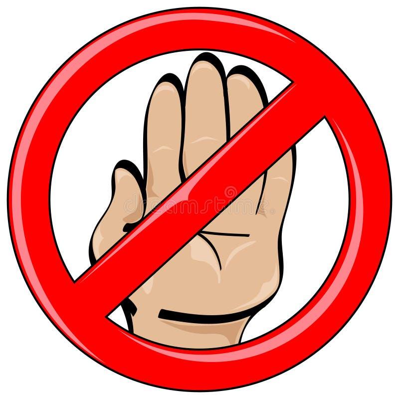 Запрещенный стоп стиля шаржа руки иллюстрация вектора