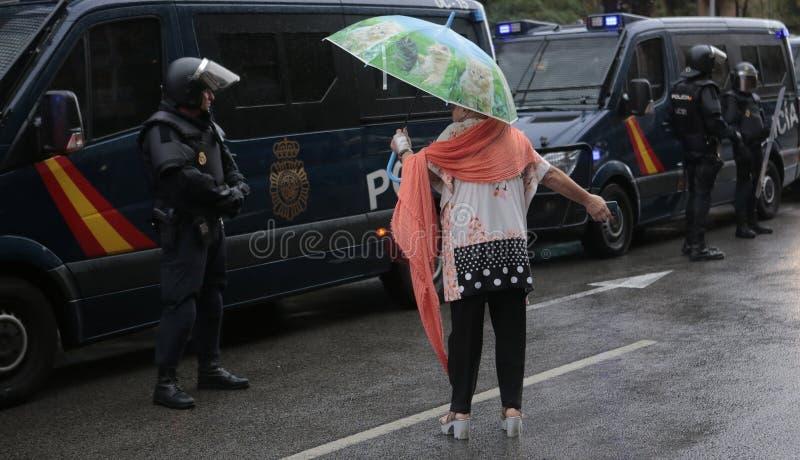 Запрещенный pro день референдума независимости в Барселоне стоковые изображения