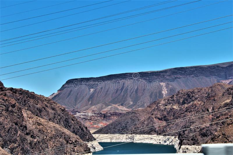 Запруда Hoover, контора рекламации, Clark County, Невада/Mohave County Аризона, Соединенные Штаты стоковые фотографии rf