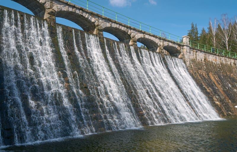 Запруда и водопад на реке Lomnica стоковые изображения rf