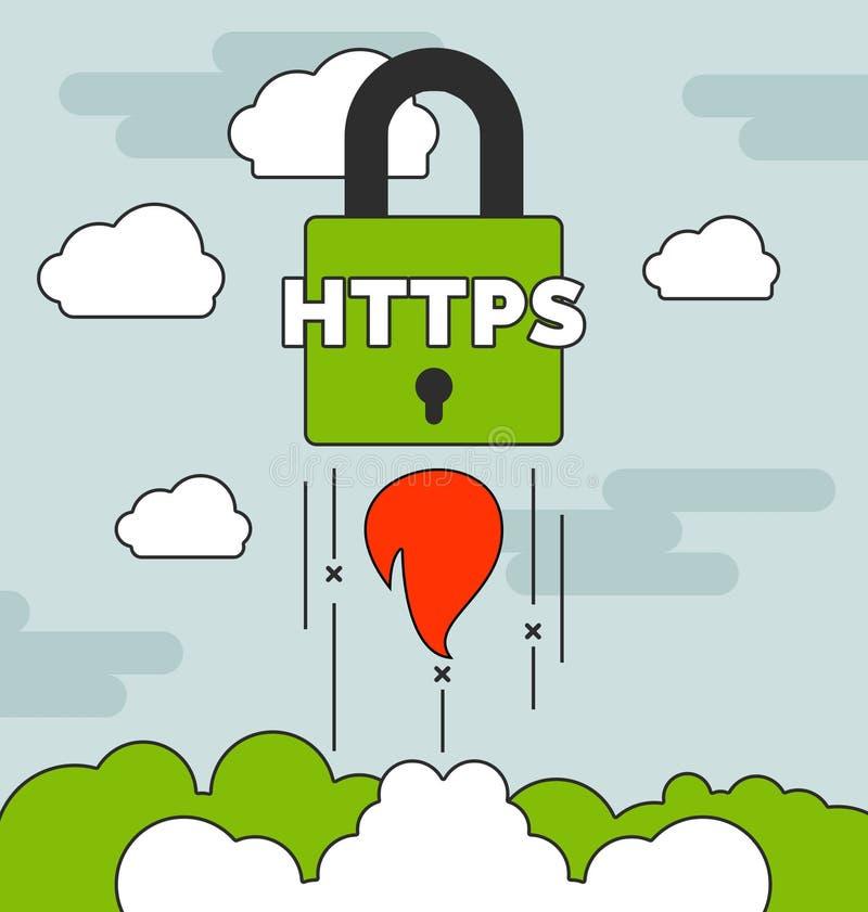 Запуская HTTPS обеспечивают концепции вебсайта с бесплатная иллюстрация