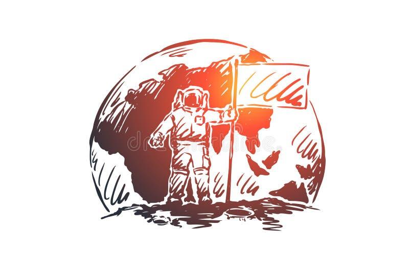 Запуск, руководство, концепция астронавта Иллюстрация руки вычерченным изолированная эскизом иллюстрация штока