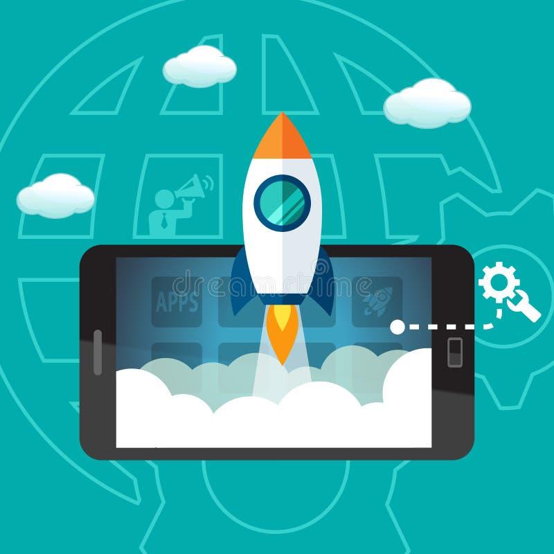 Запуск старта использования в коммерческих целях, содержимое развитие и обслуживание бесплатная иллюстрация