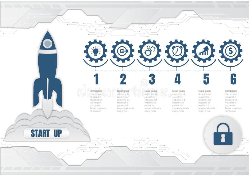 Запуск старта Ракеты, цифровая технология и infographic концепция дела также вектор иллюстрации притяжки corel бесплатная иллюстрация