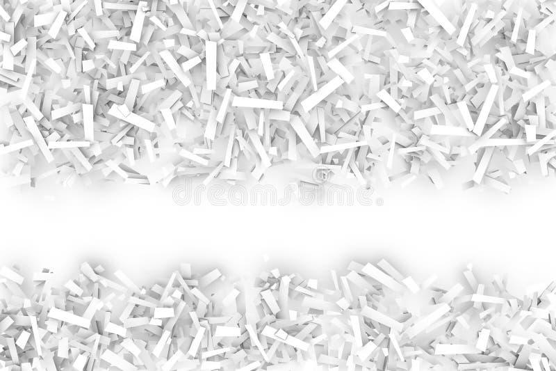 Запутанная куча белых геометрических форм Confetti на яркой задней части иллюстрация штока