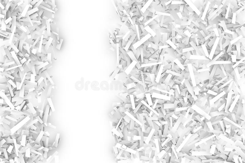 Запутанная куча белых геометрических форм Confetti на яркой задней части бесплатная иллюстрация