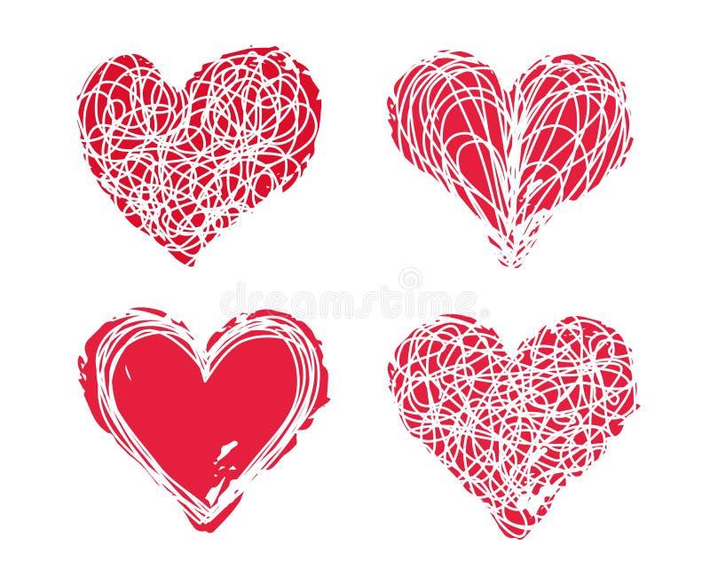 Запутанный scribble и розовый набор сердец чернил иллюстрация штока