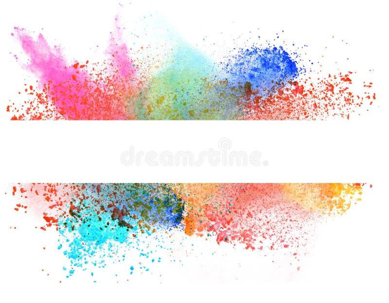 Запущенный красочный порошок над белизной иллюстрация штока