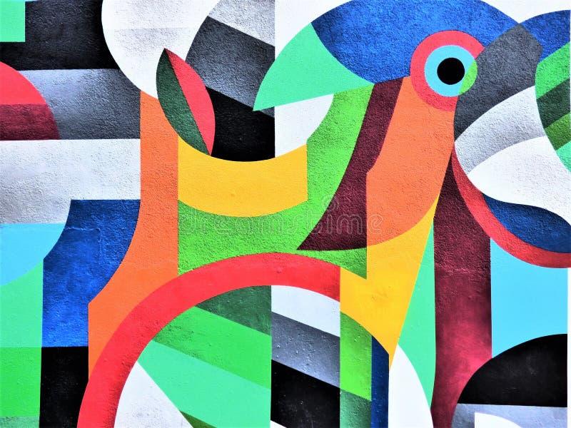 Запятнайте голову попугая - искусство улицы Валенсии стоковое изображение