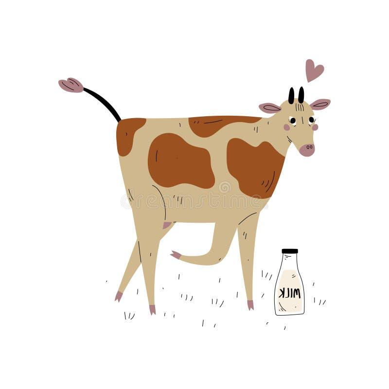 Запятнанная корова со стеклянной бутылкой молока, иллюстрации вектора размножения животноводства молочных скотов иллюстрация штока