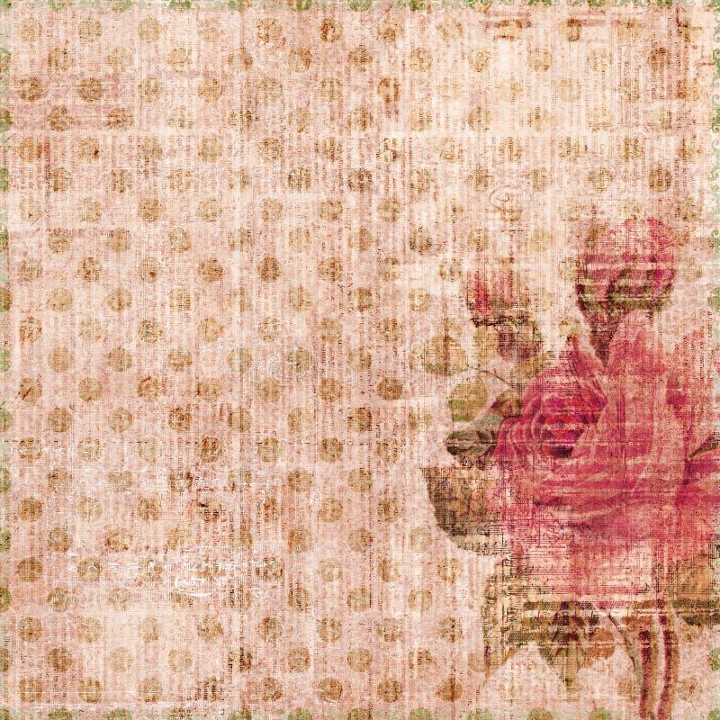 запятнанное затрапезное розы предпосылки grungy иллюстрация штока