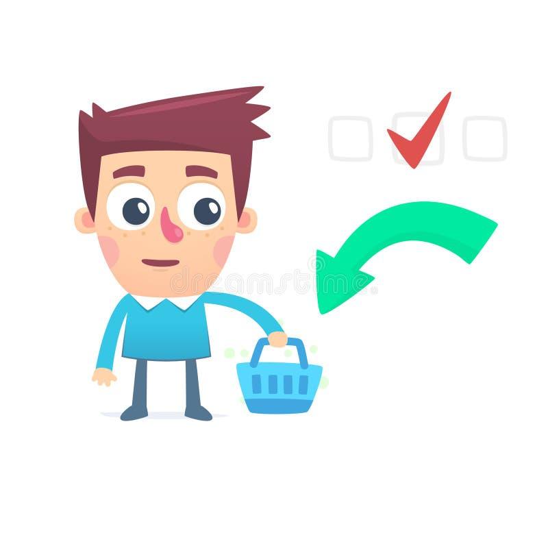 Запланированная корзина потребителя иллюстрация штока