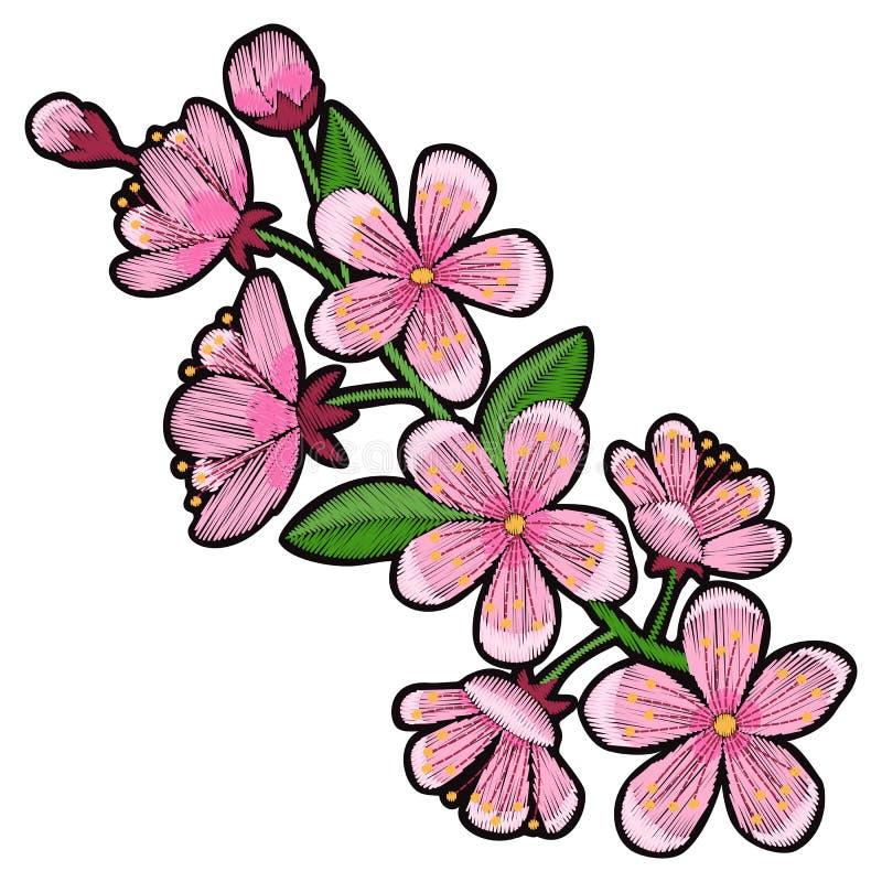 Заплата вышивки вишневого цвета иллюстрация штока