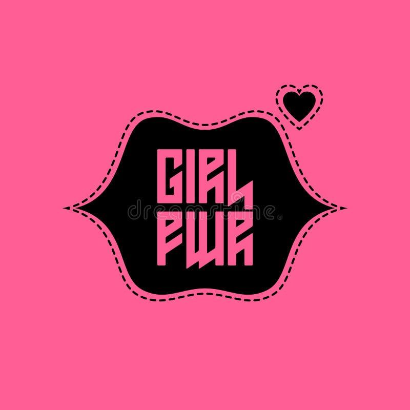 Заплата силы девушки с губами и сердцем Печать одеяний футболки для иллюстрация штока
